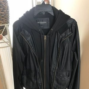 OBEY (faux) Leather Jacket w/ Hoodie